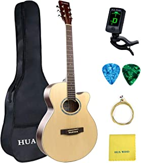 HUAWIND 40in Acoustic Guitar 6 Steel Strings Cutaway Acoustic Guitar Beginner Kit with Gig Bag Tuner Strings Strap Picks Polishing Cloth