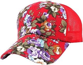 Fiaya Embroidery Cotton Baseball Cap Boys Girls Floral Printing Adjustable Snapback Hip Hop Flat Hat (RED)