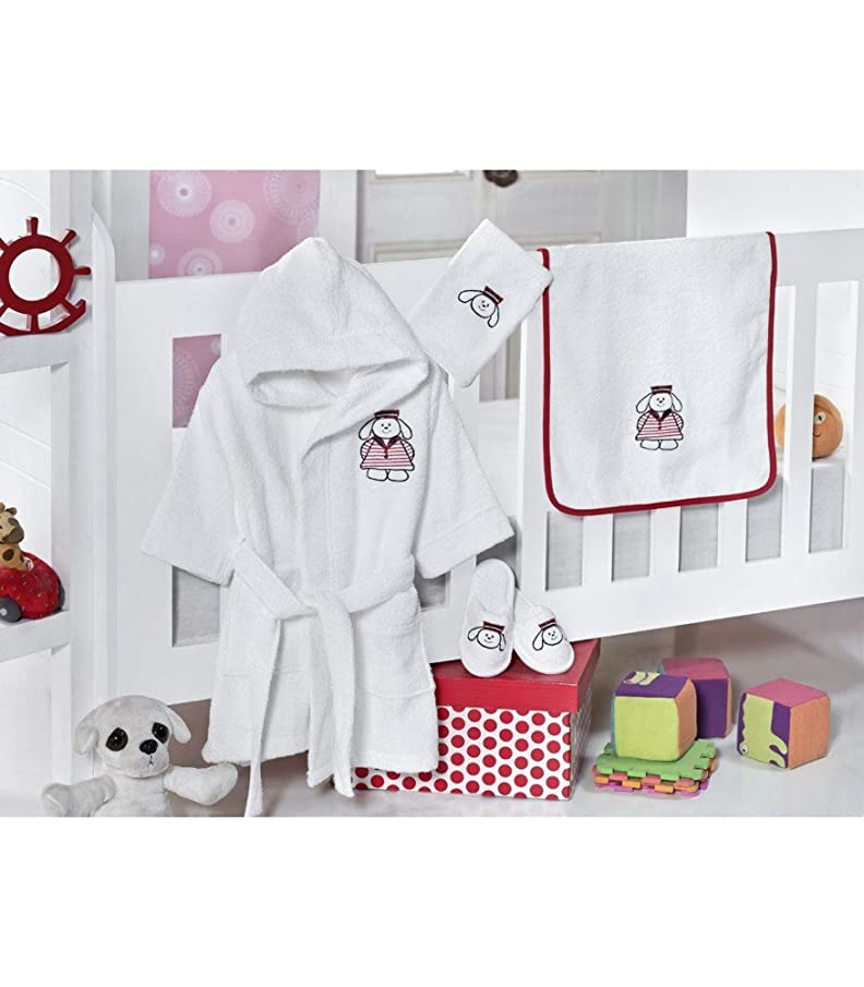 Puppy, Woven Terry Cloth Baby Bathrobe Set, Bathrobe, Hooded Towel, Washing Glove and Slippers, White, 4 Pieces, Made in Turkey, Antibacterial and Hypoallergenic