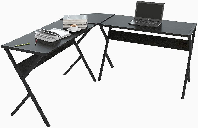 WOLTU Schreibtisch TS62sz L-Form Eckschreibtisch Winkelschreibtisch Computertisch Bürotisch Arbeitstisch, aus Holz und Stahl, 150x150x73cm(BxTxH), Schwarz