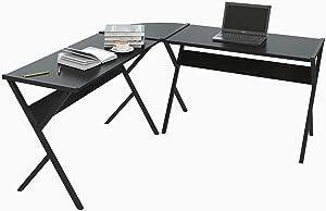 WOLTU® TS62sz Scrivania Angolare Tavolo da Studio Porta PC Computer Ufficio Lavoro Scaffale in Acciaio Legno 150x150x73 cm