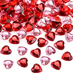 Material: these acrylic heart gems are made of good quality acrylic material, waterproof, non-fading, back side is flat and in silver color 2 Different colors: the acrylic heart vase comes with 2 different colors such as pink and red, you can choose ...