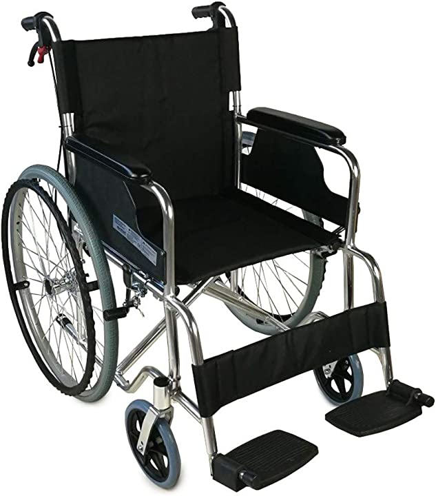 Sedia a rotelle pieghevole | leggera | braccioli e poggiapiedi fissi | larghezza seduta 46 cm  palacio