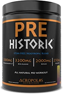 PRE Historic STIM-FREE - Pre Workout Powder by Acropolis Nutrition, Caffeine Free, All Natural, Nitric Oxide, Nootropics, ...