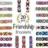 Woven Friendship Bracelets 20 Pcs Braided Bracelets Handmade Colorful Adjustable String Bracelets,1cm