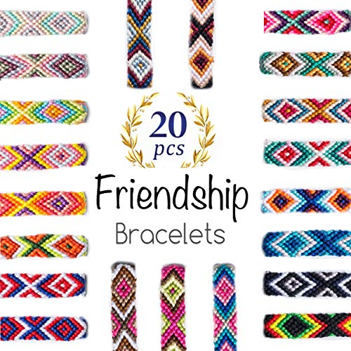 Woven Friendship Bracelets 20 Pcs Braided Bracelets Handmade Colorful Adjustable String Bracelets,1cm