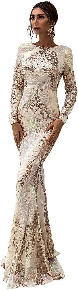 Lin Lin Q Sexy Off Shoulder Feather Long Sleeve Sequin Floor Length Evening Maxi Dress