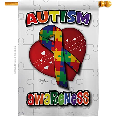 Breeze Decor H115085 Autism Awareness Inspirational Support Decorative Vertical House Flag 28 X 40 Multicolor Garden Outdoor