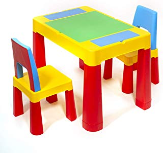 ihubdeal XL 3 in 1 Kids Activity Table Building Blocks and Chair Set Sand Table Craft Table Building Brick Table with Storage
