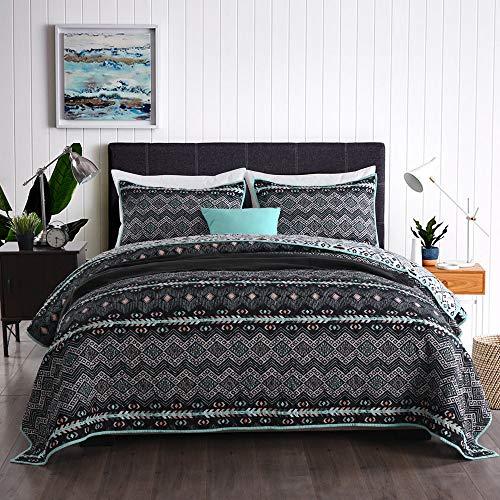 Qucover Tagesdecke Set inkl. Kissenbezüge Sommer Steppdecke Wendedesign Schwarz Weiß mit Geometrischem Muster 230 x 230 cm