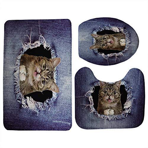 BAYUE Jeans Design Home Decor Leuke 3D Dier Kat Hond Gedrukt 3 Stks Set Badkamer Antislip Vloer Tapijten WC Toilet Stoel Matten