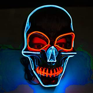 WXYXG Halloween LED Masks, Terrible Costume for Halloween Cosplay Carnival Parties Powered Battery White Light (Not Included Battery)