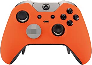 eXtremeRate Soft Touch Grip Orange Front Housing Shell Faceplate for Xbox One Elite Controller withThumbstick Accent Rings