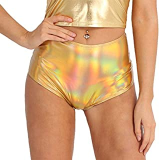 94fcd0a01b2e3 ranrann Women s Sexy High Waist Shiny Metallic Patent Leather Booty Shorts  Zippered Back Trunk Bottoms