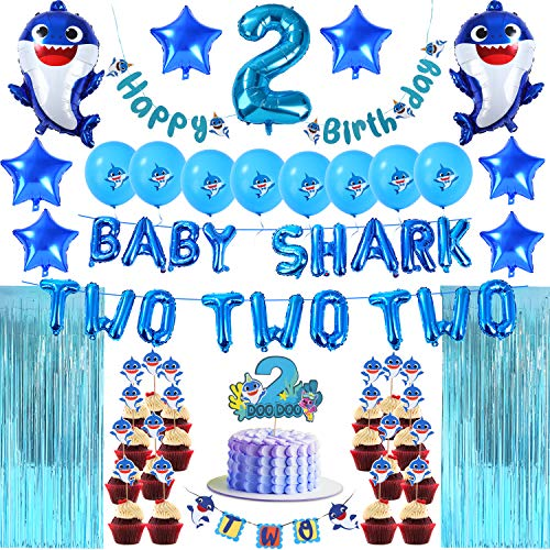 Baby Shark 2nd Birthday Decorations Boy - Blue Baby Shark TWO TWO TWO, Number 2 Foil Balloons 2 DOO DOO Cake Topper Happy Birthday TWO Banner Cute Shark Latex Balloons Cupcake Toppers Curtains-BLUE