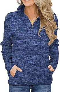 Macondoo Womens Autumn/Winter Long-Sleeve Quarter Zip Pullover Sweatshirts