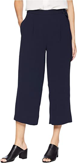 Pleat Front Micro Texture Base Crop Pants