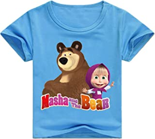 Pnfly Childrens Masha and Bear 3D Printed Short Sleeve T-Shirts