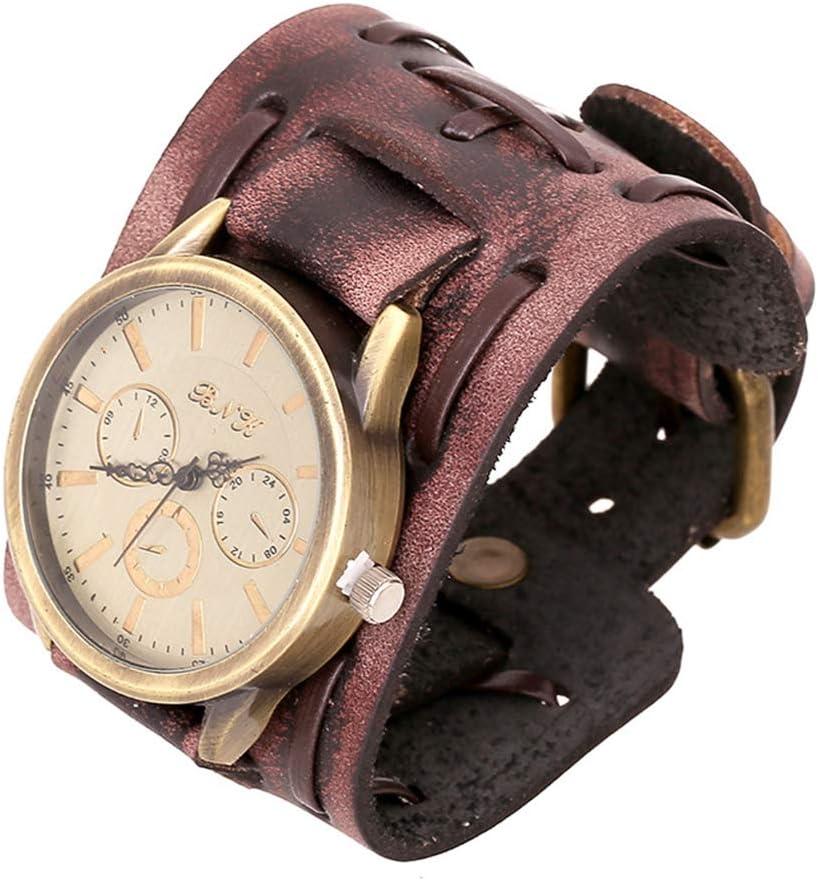 ZYElroy Pulsera hombres retro reloj de la banda ancha correa de cuero masculino Puño Reloj de pulsera de reloj de cuarzo de la vendimia