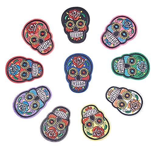 PandaHall 10 PCS Skull Iron On Patches Sugar Skull Bordado Coser Apliques...