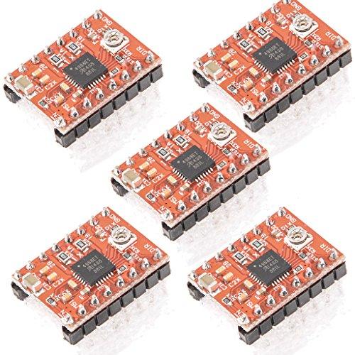 Gaoxing Tech. 5PCS A4988 Stepstick Stepper Motor Module Driver + dissipatore di calore per il 3D Reprap stampante (confezione da 5 pezzi)