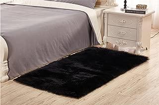 FELALA Sheepskin Area Rugs Super Soft Fluffy Rectangle Carpet Floor Mats Home Decorative for Living Room Girls Bedrooms Black 2x3ft