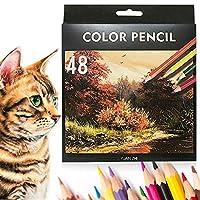 色鉛筆 カラーペンシル 油性色鉛筆 48色セット 子供、学生、大人の塗り絵 室内絵作り