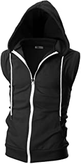 Sponsored Ad - OHOO Mens Slim Fit Sleeveless Lightweight Zip-up Hooded Vest with Zipper Trim
