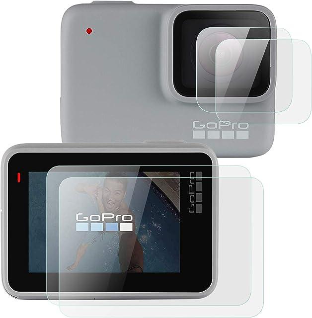 OOTSR (4 Piezas) Protector de Pantalla Compatible con GoPro Hero 7 White/Hero 7 Silver Protector de Pantalla de Vidrio + Protector de Lente para Hero 7 Silver/White 2 Piezas/Cada uno