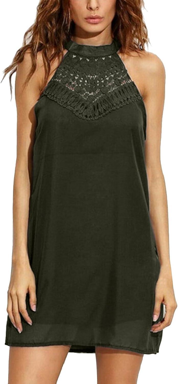 StyleDome Women's Halter Neck Mini Dress Floral Print Summer Sleeveless Lace Patchwork Casual Short Sundress