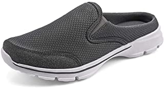 Men's Open Back Sneaker Clogs Knit Mules Shoes Lightweight Breathable Slippers