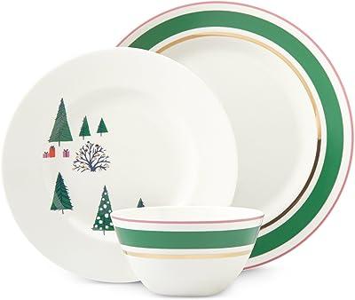 kate spade new york Arbor Village Dinnerware 3-Piece Place Setting, White/Green/Pink/Multi