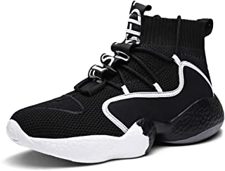 Basketball Shoes, High-Top Shock Absorber Basketball Boots Trainer Large Size Non-Slip Breathable Men's Socks Shoes Outdoor Running Sneakers,Black,48