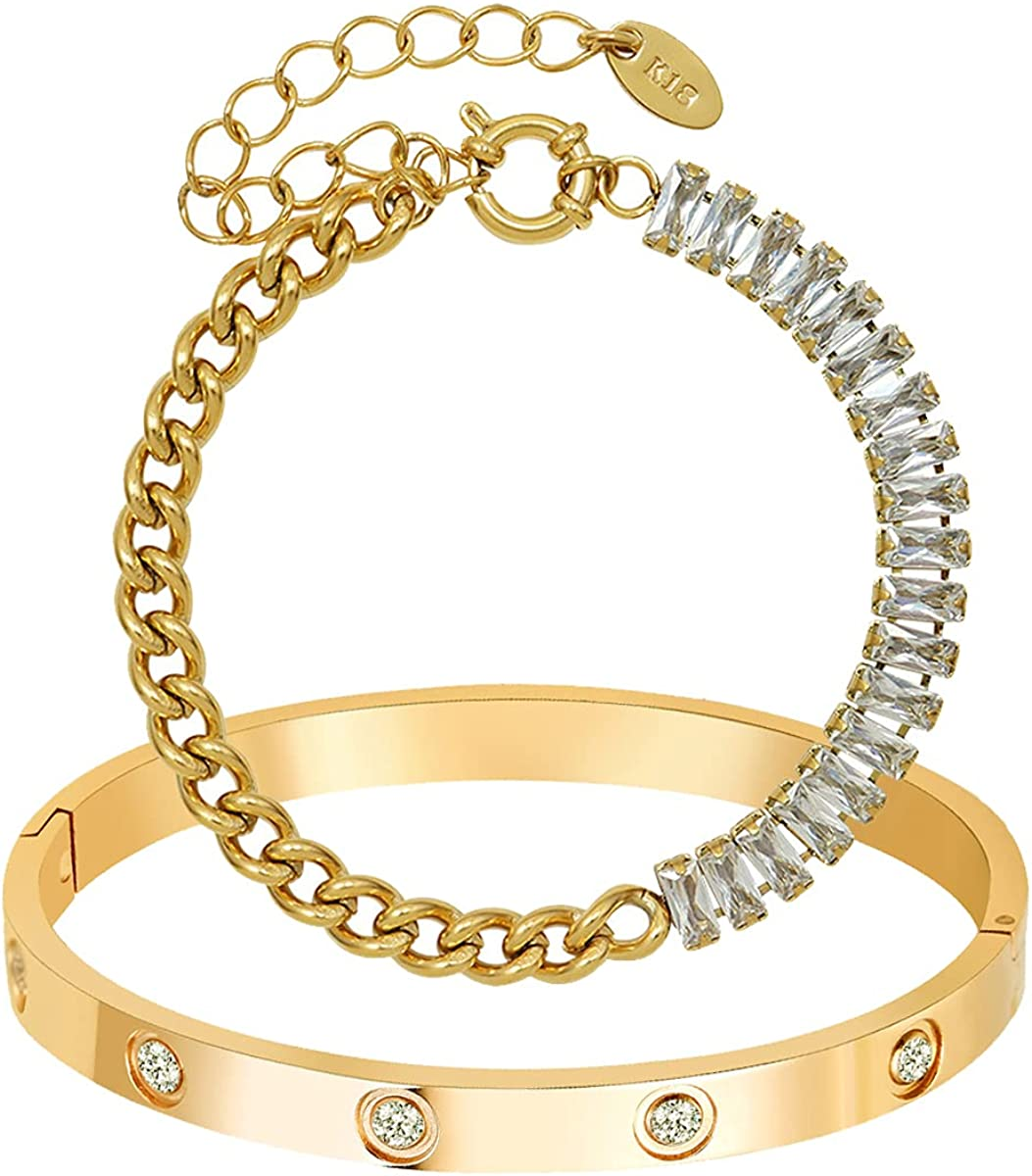 AD Jewelry 18 K Gold Plated Love Bangle Bracelet 2 PCS Set CZ Stone Stainless Steel Bangle for Women