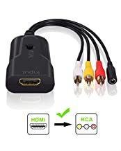eSynic HDMI a RCA Convertidor Cable 1080P HDMI a Audio Video Converter Soporta HDMI 1.3 y soporta PAL/NTSC. Dos formatos de TV estándar para Fire Stick PS3 DVD Xbox, Roku TV