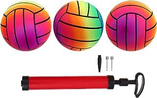 BESPORTBLE 1 Juego/4 Piezas de Balón de Fútbol Inflable con Bomba Arco Iris Bolas de Deportes Colorido Pelotas de Patio para Piscina de Verano Al Aire Libre Fiesta de Playa