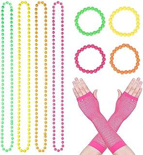 10 STÜCKE Kunststoff Neon Perlenketten Neon Armbänder Lange Netz Handschuhe Set für 80er Party Kleid Zubehör