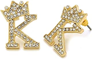 Hip Hop Crown Tilted Initial Alphabet Letter Pierced Post Stud Earring Gold, Silver Tone