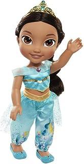 Jakks Pacific Princesa Disney, muñeca Jazmine Aladdin Detalle. Fíjate en su Pelo, Vestido, Corona, Zapatitos - Traje Multicolor con Preciosos Estampados