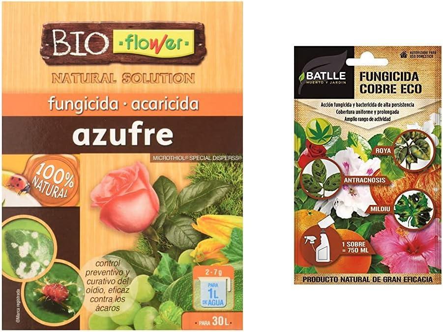 Flower 70516 70516-Fungicida Azufre-Sofrex, No Aplica, 10.3X3.7X14.5 Cm + Batlle Fitosanitarios Ecológicos Fungicida Cobre Eco sobre para 750Ml