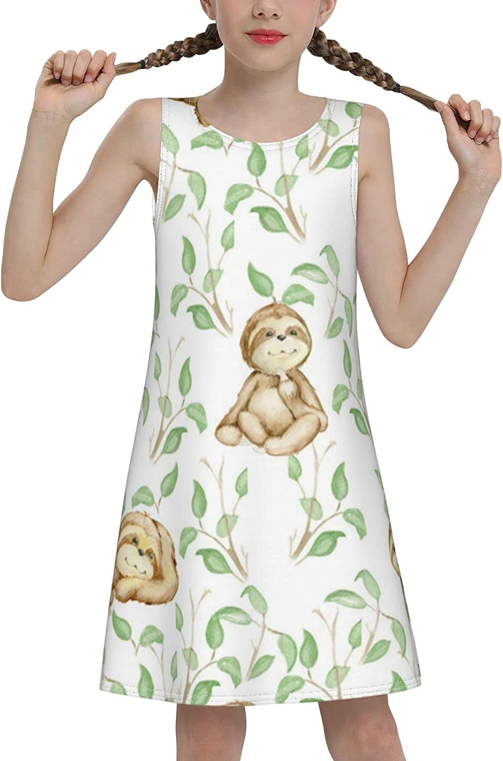 YhrYUGFgf Cute Sloth Watercolor Sleeveless Dress for Girls Casual Printed Vest Skirt