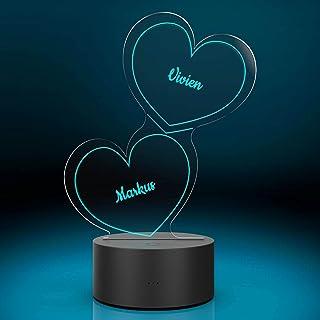 Personalisierte Herz-Leuchte mit Namensgravur   LED-Herz mit Namen und Farb-Lichtern als Geschenk-Idee   LED-Lampe mit Gra...
