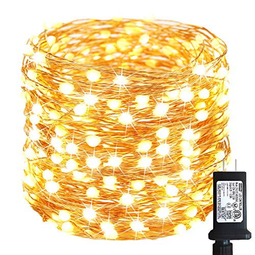 66Ft 200LED Fairy Lights Plug in, Super Bright String Lights Outdoor/Indoor (Upgraded Oversize Lamp Beads), 8 Modes Waterproof Copper Twinkle Lights for Bedroom Party Garden Wedding