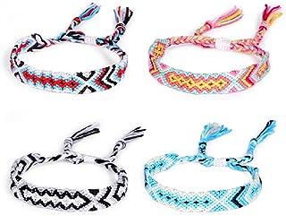 4 pcs/Set Braided String Woven Friendship Bracelets Colorful Adjustable Handmade Thread Bracelet Band for Women Wrist Anklet Ethnic Jewelry