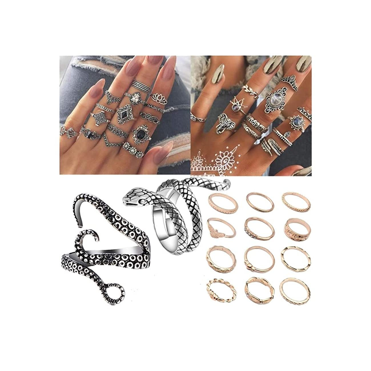 NNIOV 41Pc Fashion Boho Knuckle Rings Set for Women Girls Men, Vintage Retro Crystal Bohemian Midi Rings, Joint Nail Band Cuff Toe Statement Finger Rings, Snake Octopus Elephant Feather (41 Pcs a set)