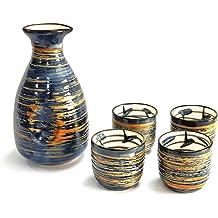 SET of 3 Japanese Porcelain Sake Set Four Seasons Kanji Gift Boxed Made in Japan