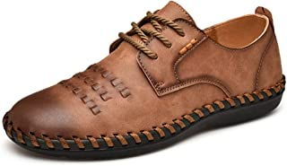 Fashion Men's Oxford Shoes Formal Shoes Lace Up OX Leather Retro Color Polishing Toe Knitting Design Breathable Flexible Folding Men's Boots (Color : Brown, Size : 8 UK)