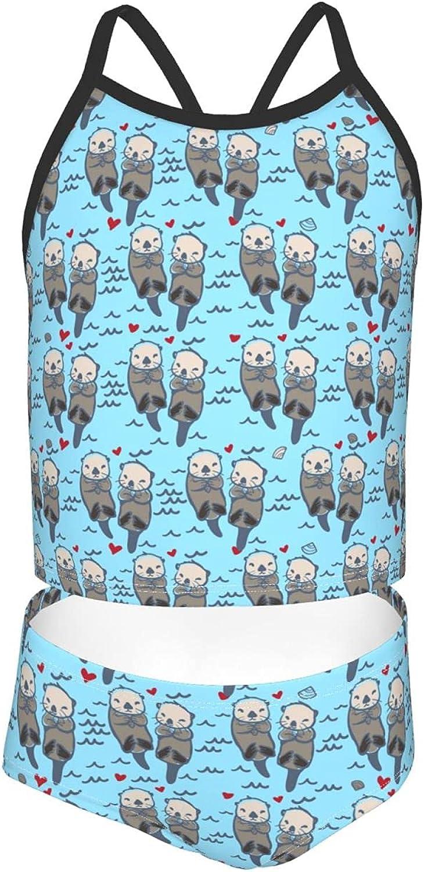 Girls 2 Piece Tankini Swimsuit Set Cute Sea Otter Family Bikini Beach Sport Swimsuit Comfortable Bathing Suit