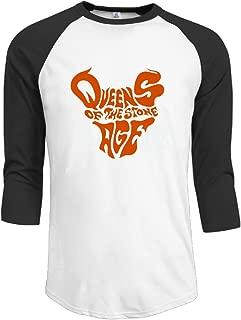 Men Queens of The Stone Age Art Vintage 3/4 Sleeve Raglan Tee Shirts