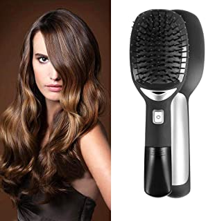Electric Ionic Hairbrush Styling Comb, Hamkaw Long Handle Straightening Hair Brush Hair Scalp Massage - Anti-Static & Hair Growth, Round Negative Ion Comb for Women Travel Home